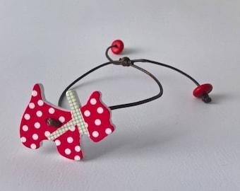 """Bracelet """"little red & white dog"""""""