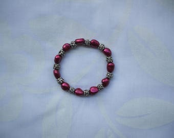 Raspberry pink fresh water pearls and silver bracelet