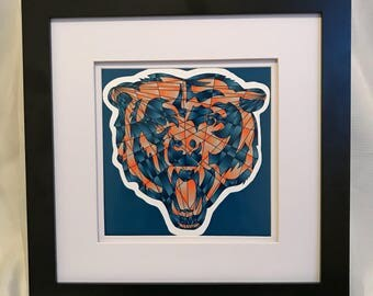 Chicago Bears digital shatter art print // back to school // college dorm decor // Chicago football