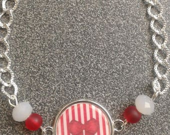 BRACELET SILVER CABOCHON RED BOW