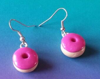 """Raspberry DONUTS"" earrings in polymer clay"