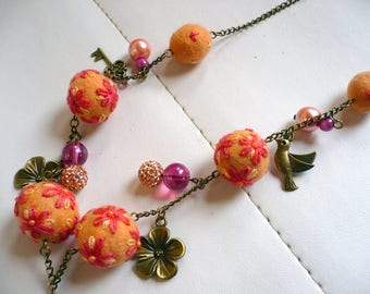 necklace made of wool felt and embroidered with color beads Pink salmon and pink