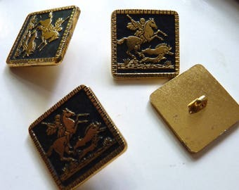 Sets of 4 to 6 square buttons hunting, metal bottoms pattern blackened 18 mm diameter