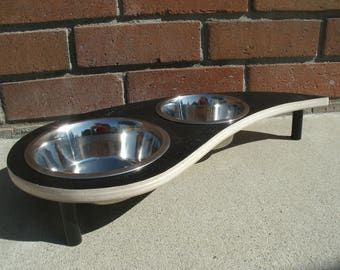 Dog Food and Water Bowl  Stand On Swirl Design