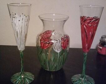 Floral hand painted vase/wine glass set