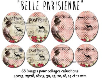 """Digital images for collage digital cabochon jewelry """"Parisian Belle"""""""