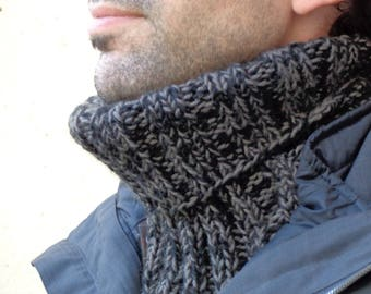 Snood man two-tone black/grey anthracite wool