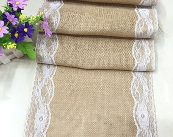 30*180cm White Lace Rustic Linen Runner Classic Table Runners Hand Made Of  Soft Table