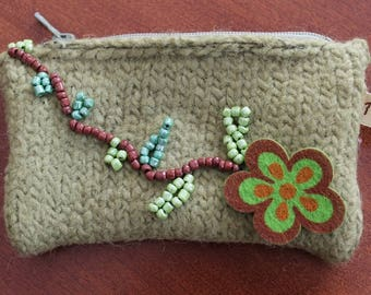 Flower of olive felted wool purse