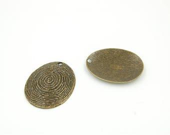 Large Oval Pendant footprint digital bronze aged 48 * 59 mm