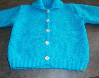 turquoise vest 18 months in garter stitch knit handmade