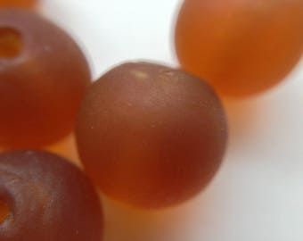 lot 5 round brown glass lampwork beads handmade Lampwork ~ 10mm frosted transparent /3/