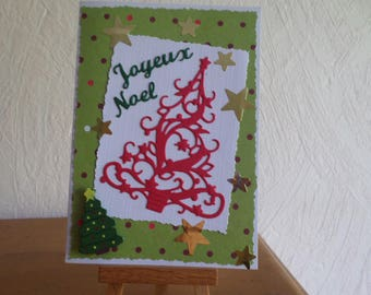 greeting card with red Christmas tree cut