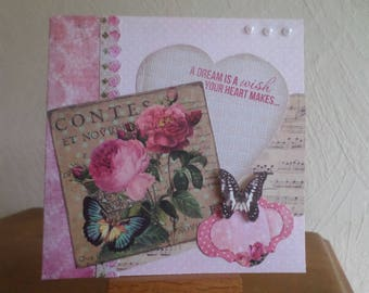 card ith a heart, roses and a butterfly