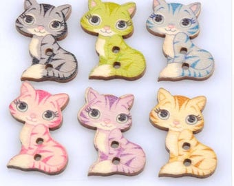 Set of 5 wooden cat buttons