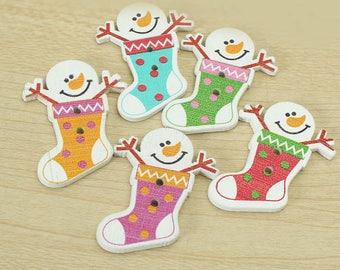 Set of 10 wooden Christmas buttons