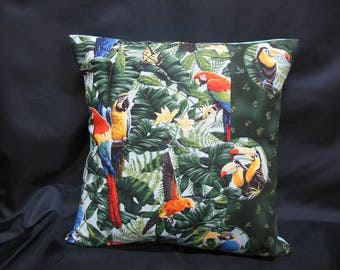 Parrots on light blue background (C294), square Cushion cover