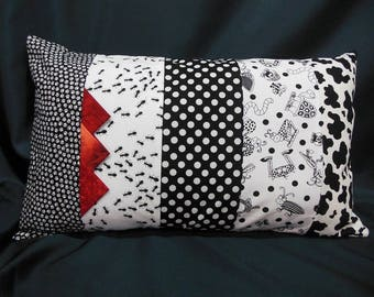 Rectangular Cushion cover, patchwork, black, white fashion, red (C364R)