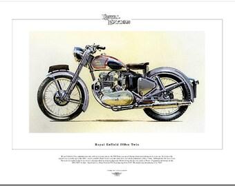 ROYAL ENFIELD 500cc TWIN - Classic Motorcycle Fine Art Print - 1953 Motorbike