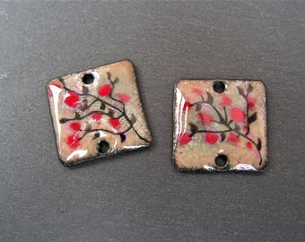 enamelled copper (hot) charms connector, beige, white, black, Red