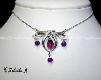 Gothic necklace purple amethyst beads (4 Cg3)