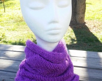 Collar snood knitted purple fall and winter