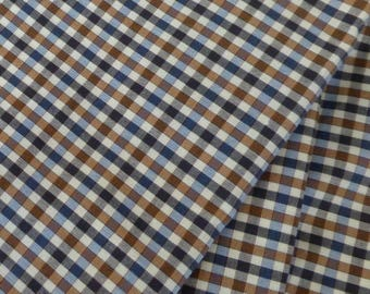fabric 100% cotton grid fabric Navy Blue and Brown
