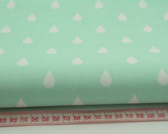 50cm of fabric printed 100% cotton drops white on blue green - Mint