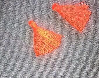 SET of 2 25mm neon orange cotton TASSELS