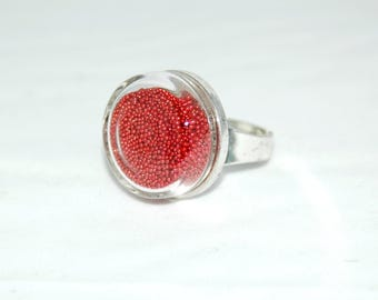 Glass bubble ring - Inclusion with red microballs