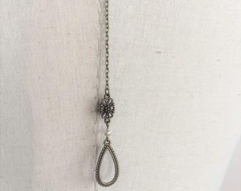 """""""Sienna"""" bronze necklace back wedding jewelry with swarovski pearls"""