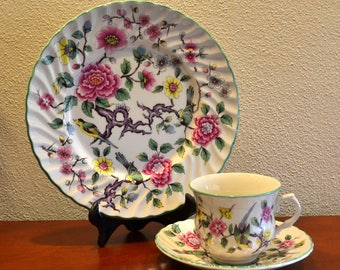 """James Kent Old Foley """"CHINESE ROSE"""" Tea Cup TRIO. Spring Has Sprung!"""