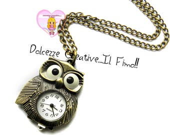 Watch necklace - vintage style - Kawaii - gift idea - OWL