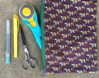 Elephant-Themed Large Silk Vintage Tie Zipper Pouch