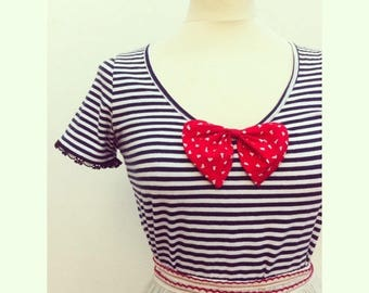 Sailor top - Short sleeves - lace and vintage red bow
