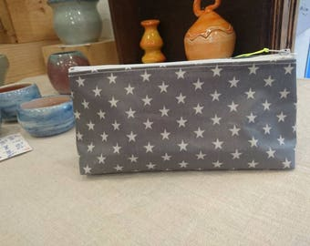 Lovely triangular case in coated cotton gray with white detail stars neon yellow