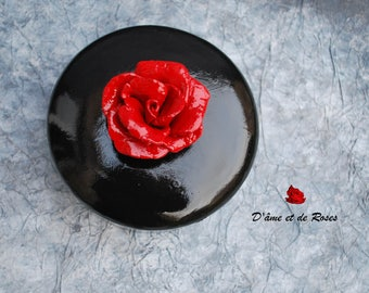 round porcelain with a red rose