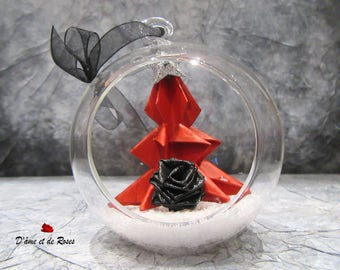 Glass Christmas tree red, black rose 1 ball