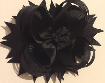 Black Stacked Hair Bow | black hair bows | hair bows | hair bow | stacked hair bow | girls hair bow | handmade hair bows | black