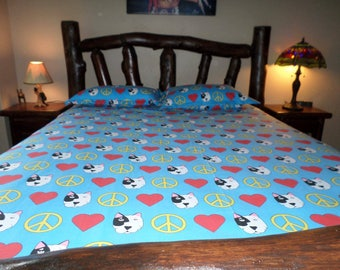 Sheets, Dog Themed Sheets, Animal Themed Sheets, Pit Bull Sheets, Dog Sheets