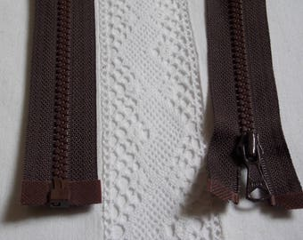 Molded separable 75 cm dark brown chocolate zipper