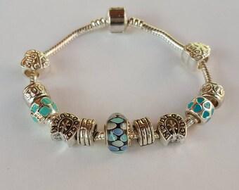 Murano immortal pearl bracelet / Silver 925/blue/pandora/jewelry/gift/door happiness/Butterfly/enamel/charm European/Crystal/woman/unique/heart