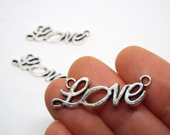 4x  LOVE Connector Charm  33 x 10mm, Silver Coloured