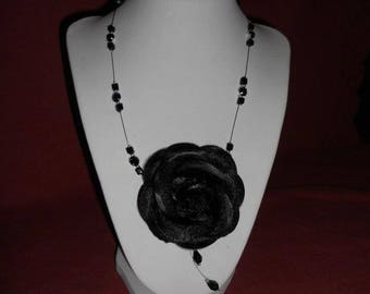 Black satin flower, wedding necklace