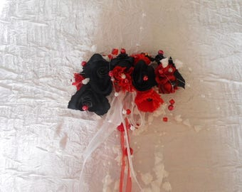 Red bridal hair comb headpiece / black / red and white