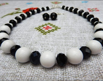 White and black handmade necklace