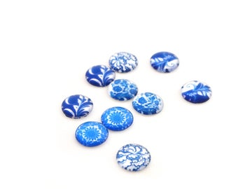 Flower 10 blue cabochons 12 mm
