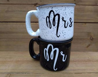 Mr & Mrs Campfire Mug Set - Couples Coffee Mugs, Winter Mug, Coffee Lover Gift, Gift, His and Hers