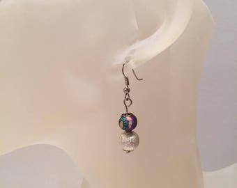 Purple and White Pearl Earrings glitter