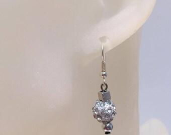 White shamballa bead earrings